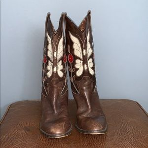 Steve Madden leather cowboy boots with heel.